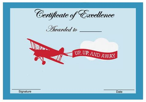 planes themed award certificates award certificates