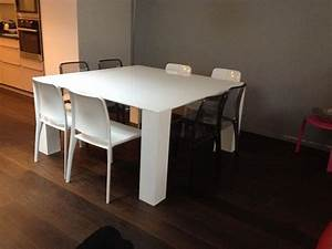 Table salle manger carree blanche
