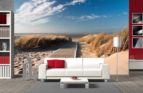trompe l oeil mural grand format papier peint panoramique plage grand format chemin des dunes