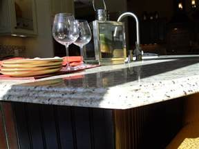 oak kitchen island with granite top waterfall edge on new venetian gold kitchen
