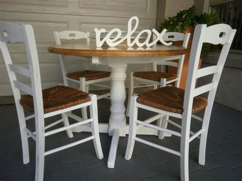 French Country Beach House Dining Kitchen Table And 4 Rush