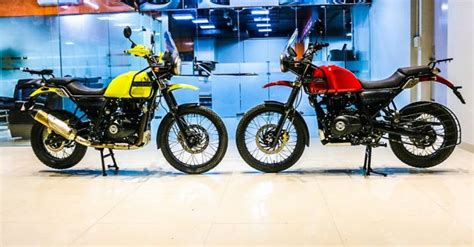 customised royal enfield himalayan  candy red yellow