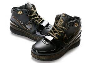 Black and Gold Nike LeBron Basketball Shoes