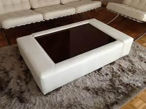 Table Basse Cuir : table basse en cuir italien zana blanc mobilier priv ~ Teatrodelosmanantiales.com Idées de Décoration