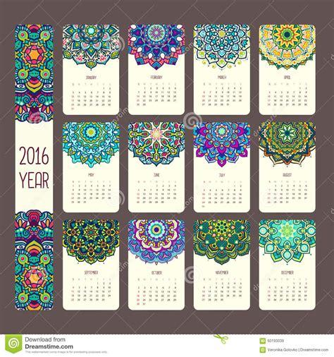calendar   mandalas stock vector illustration