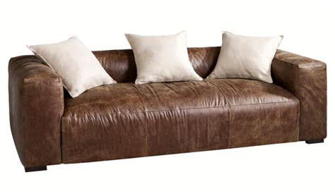 canapé en cuir vieilli meubles et déco vintage chez la redoute