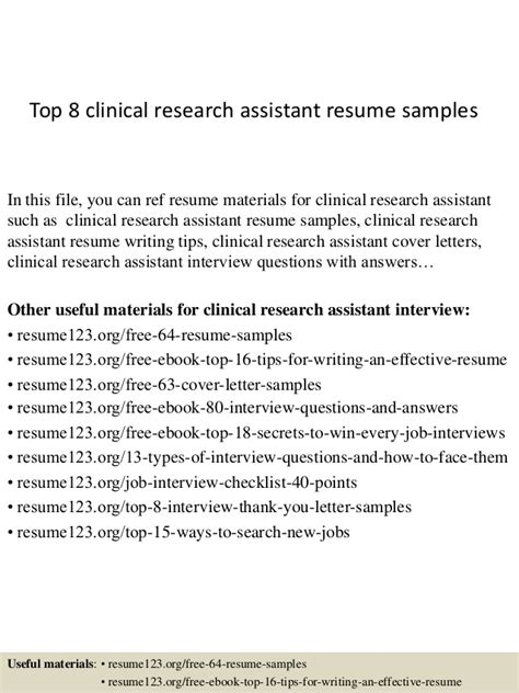 top 8 clinical research assistant resume sles