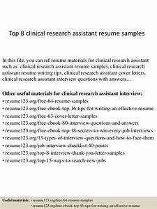 Cover Letter For Learning Support Assistant Top 8 Clinical Research Assistant Resume Samples