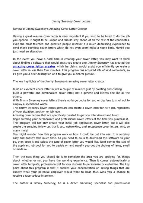 Jimmy Sweeney Resume by Jimmy Sweeney Cover Letters