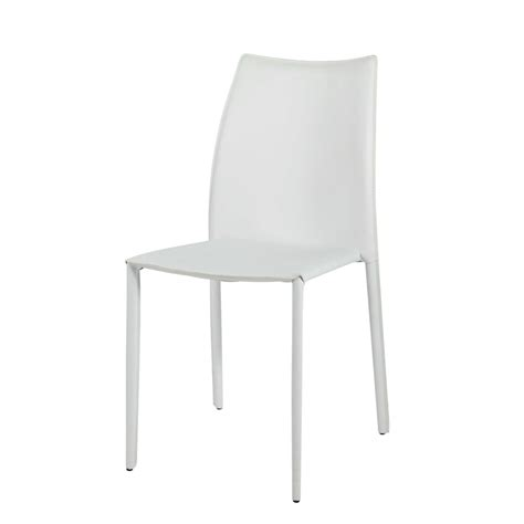 chaise en cuir recycl 233 blanc klint maisons du monde