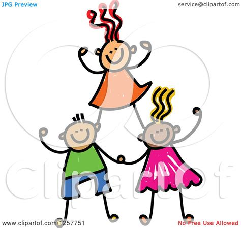 Clipart of a Diverse Group of Cheering Stick Children ...