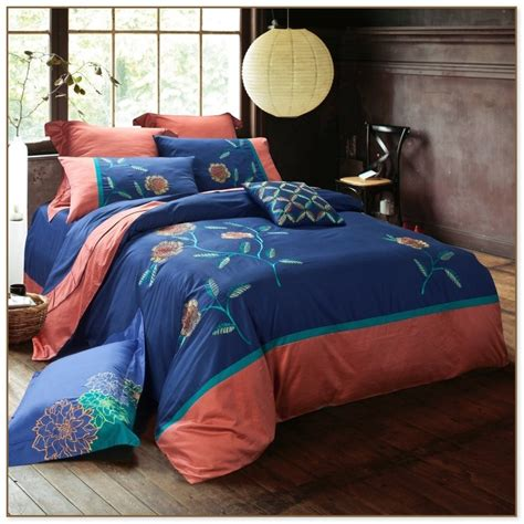 coral  navy blue bedding