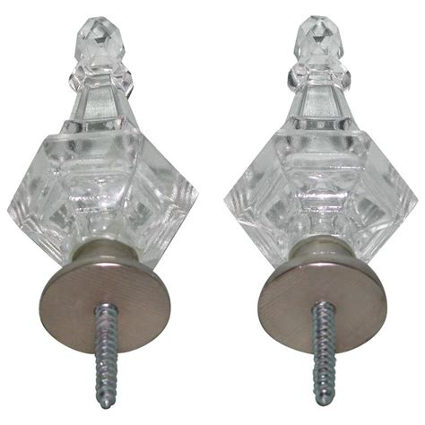 pair of modern baccarat style glass drapery rod finials