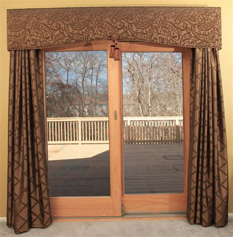 interior neutral grommet top patio door drapes and gold iron rod great patio door