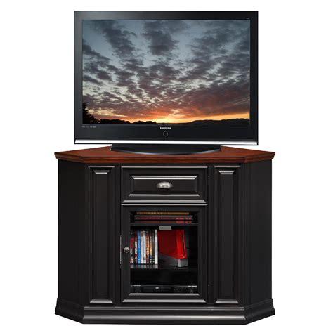 Furniture Black Tall Corner Tv Cabinet With Framed Glass