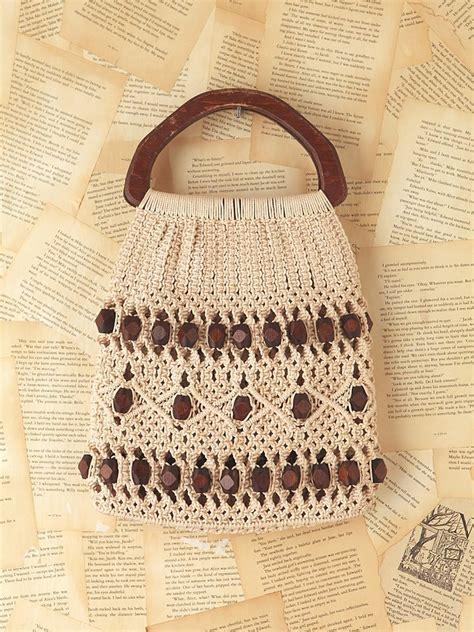 lyst  people vintage crochet bag  natural