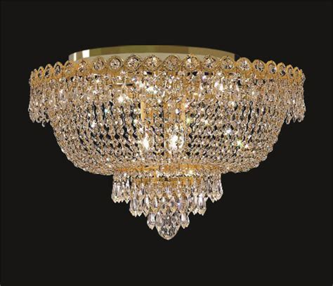 gold plated flush mount basket chandelier
