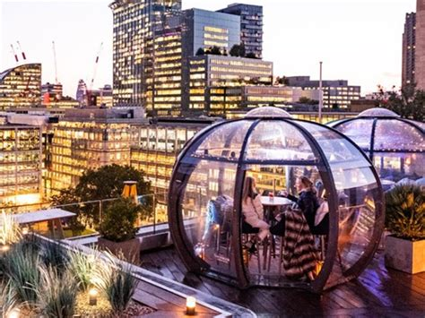 outdoor dining dome  pod dining pods  aviary london