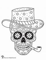 Coloring Skulls Sugar Skull Adult Dead Printable Sheets Colouring Drawing Mandala Candy Woojr Roses Printables Template Cat Halloween Teschio Trendy sketch template