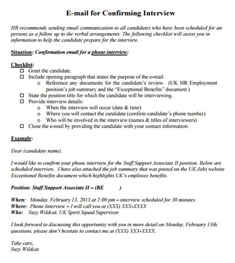 interview confirmation email 10 confirmation email sles pdf word psd sle templates