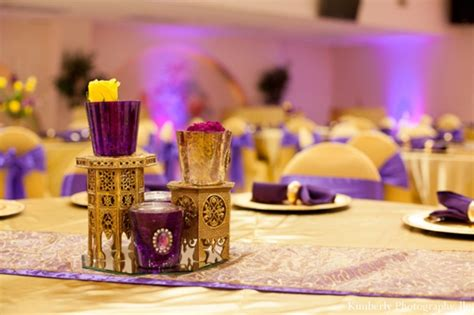 indian engagement party  purple  gold  kimberly