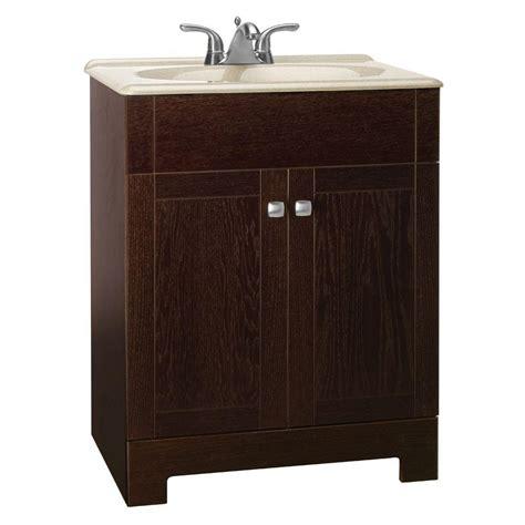 Glacier Bay Bathroom Cabinets Java by Glacier Bay Renditions 24 3 4 In W Vanity In Java Oak