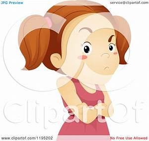 Cartoon of a Stubborn Brunette Girl with Folded Arms ...