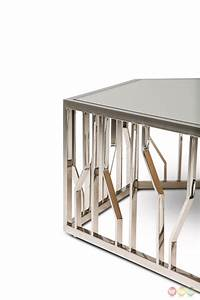 Reflections Modern Hexagon Shaped Glass Top Coffee Table ...