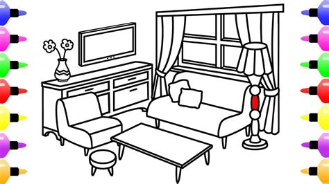Coloring Living Room by How To Draw Living Room For Coloring Pages For