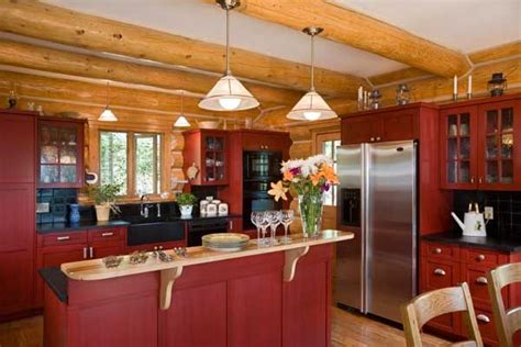 barn red     log home kitchens red
