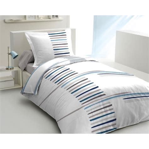 Housse De Couette Bleu Lovely Home Parure De Couette Semple 100 Coton 1 Housse De Couette 140x200cm 1 Taie D