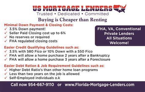 3.5% Down Bad Credit Florida Mortgage Lenders