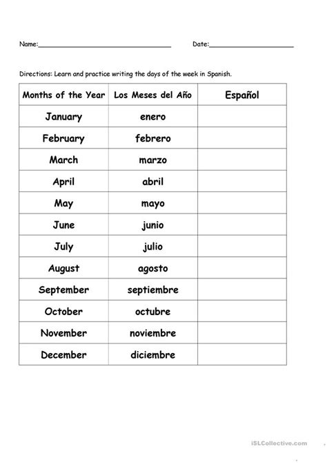 months of the year in spanish worksheet free esl