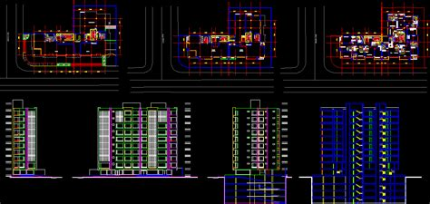 highrise apartment building bogota  autocad cad
