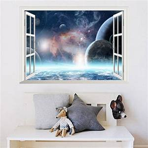3D Effect Galaxy Wall Sticker Outer Space Planet Stickers ...