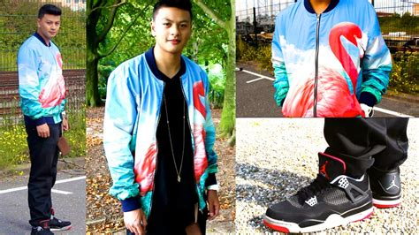Fit of the Day CRAZY Flamingo Bomber Jacket + Air Jordan 4 Bred - YouTube
