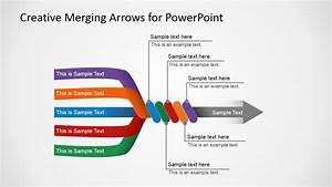 Slide With 5 Arrows Converging In 1 Final Arrow