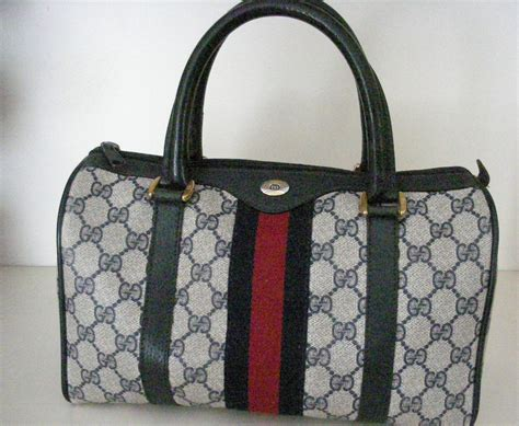 vintage gucci doctorboston bag purse navy blue