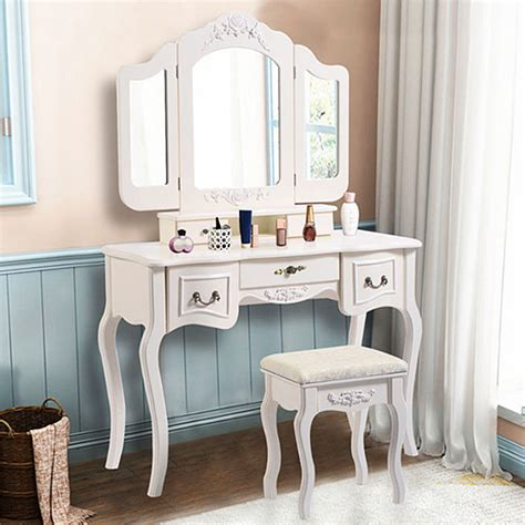 Vanity Table With Mirror And Drawers by Zimtown Tri Folding White Vanity Makeup Dressing Table Set
