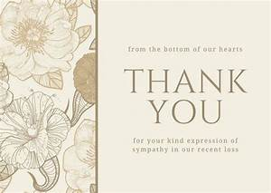 brown floral sympathy thank you card templates by canva With sympathy thank you cards templates