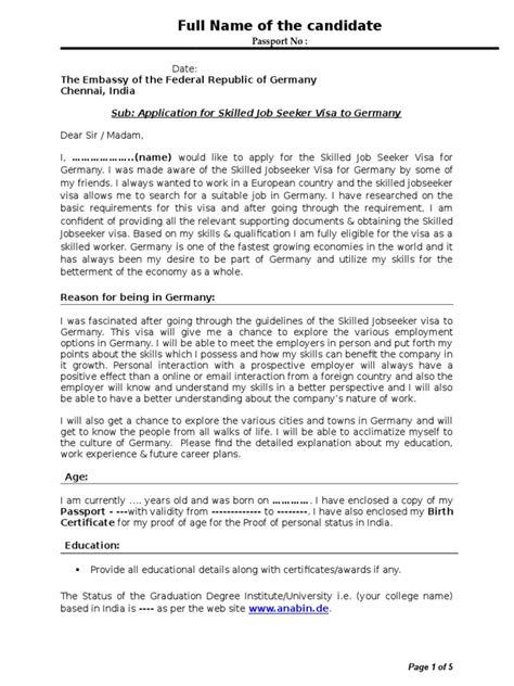 Sample Cover Letter | Germany | Visa (Document)