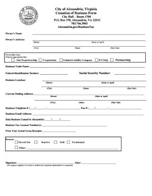 cessation  business form fill  printable