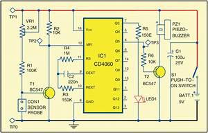 Circuit Of Moisture Monitor For Plants  59151