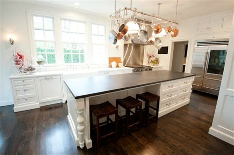 kitchen island legs wood island pot rack transitional kitchen munger interiors