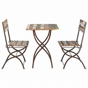 Tavolo + 2 sedie da giardino in legno riciclato e metallo effetto anticato L 60 cm Collioure