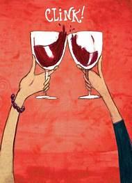 Drinking Wine Happy Birthday Cards