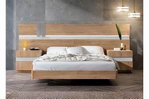 Lit Pour Adulte : lit adulte complet en bois chevets t te de lit led novomeuble ~ Teatrodelosmanantiales.com Idées de Décoration