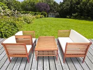 Salon De Jardin En Bois : salon de jardin en bois d 39 eucalyptus 1 canap 2 ~ Dailycaller-alerts.com Idées de Décoration