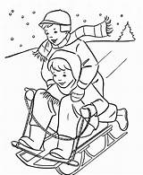 Coloring Winter Sledding Pages Cartoon sketch template