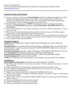 Sle Resume For Experienced Network Engineer India by Entry Level Network Engineer Resume 45 Images Sle